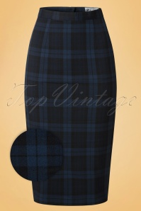 50s Livingstone Tartan Pencil Skirt in Navy
