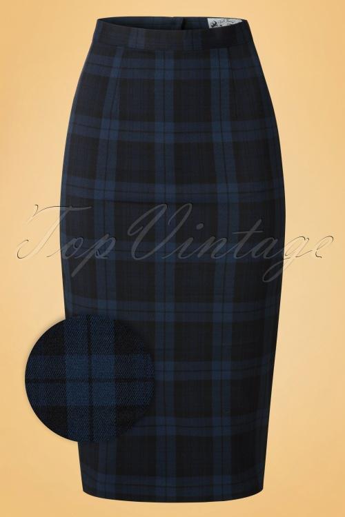 Bunny Livingstone Plaid Skirt in Navy Black 120 39 19578 20161125 0007wv