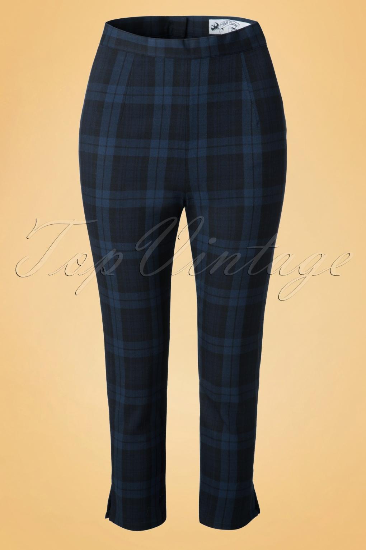 1950s Pants & Jeans- High Waist, Wide Leg, Capri, Pedal Pushers 50s Livingstone Tartan Cigarette Trousers in Navy £31.42 AT vintagedancer.com