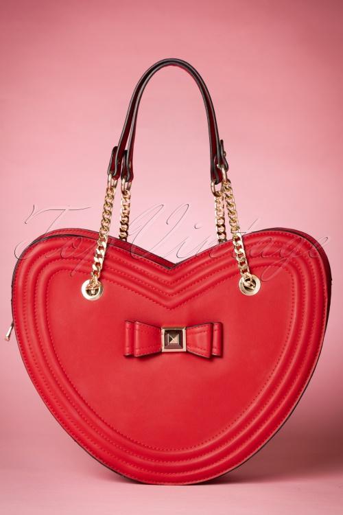 La parisienne Heartshaped Bag in red 212 20 20600 11282016 002W