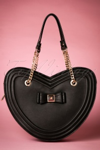 60s Tina Heart Handbag in Black