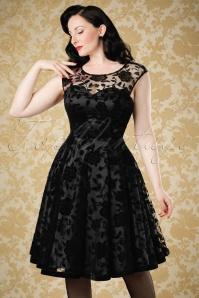 50s Faye Brocade Velvet Rose Swing Dress in Black