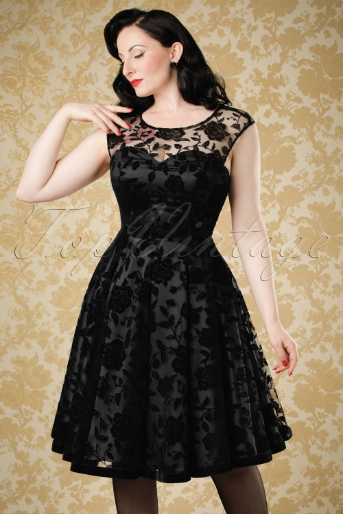 Collectif Clothing Faye Brocade Velvet Rose Dress Black 18966 20160602 0022w