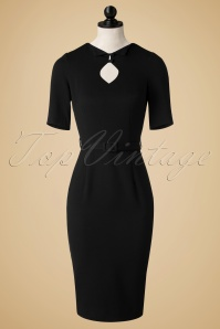 50s Sophia Pencil Dress in Black