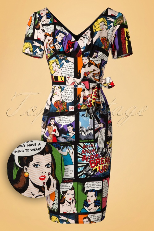 Victory Parade Rita Capsleeve Cartoon Pencil Dress 100 14 20048 20161129 0005W1