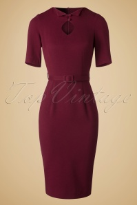 50s Sophia Pencil Dress in Burgundy