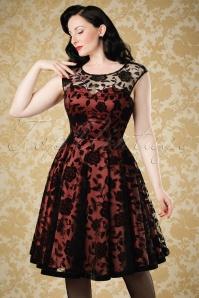 Collectif Clothing Faye Brocade Velvet Rose Dress 18967 20160602 model01bcw