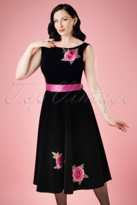 Collectif Clothing Margaret Velvet Swing Dress 18965 20160601 model0VW