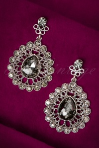 30s Dorothy Diamond Drop Earrings in Silver