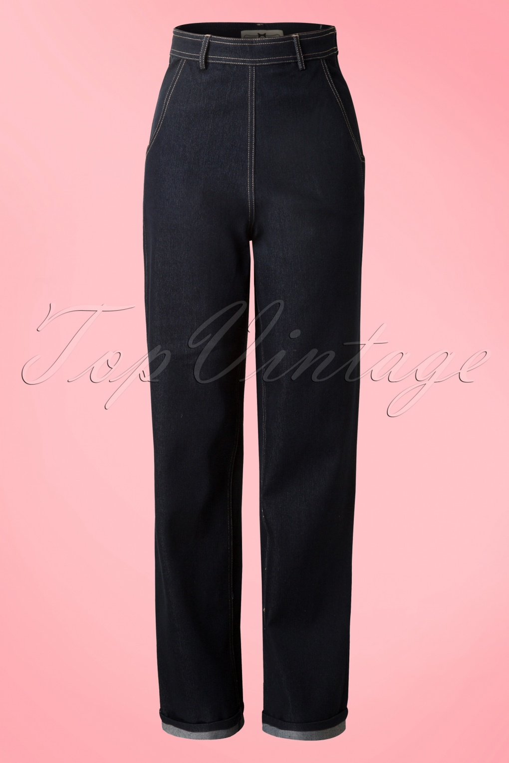 Vintage High Waisted Trousers, Sailor Pants, Jeans 50s Siobhan High Waist Jeans in Navy £50.60 AT vintagedancer.com