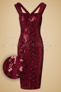 50s Judy Sequins Pencil Dress in Red