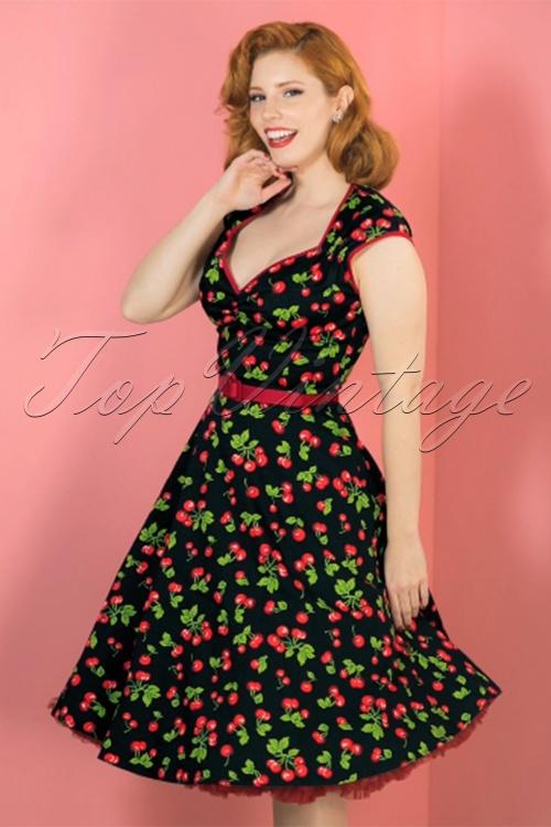 b632672d6abdea PINUP COUTURE retro Heidi Black Cherry Swing dress jurk