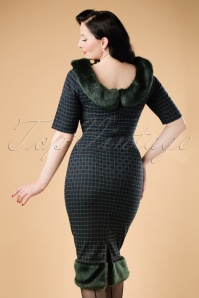Collectif Clothing Juliette Chaise Check Pencil Dress 18937 20160602 model02bcw