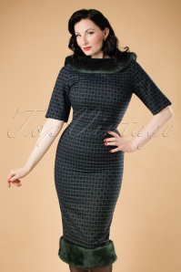 Collectif Clothing Juliette Chaise Check Pencil Dress 18937 20160602 model01bcw