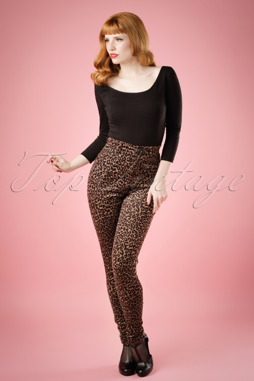 Collectif Clothing Maddie Leopard Velvet Pants 18853 20160602 model01bw