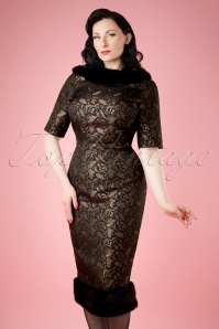 Collectif Clothing Juliette Jacquard Pencil Dress  18936 20160531 model01bw