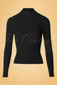 50s Lets Tango Polo Neck in Black