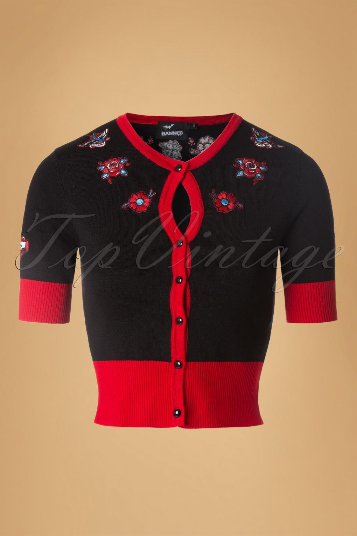 Vintage & Retro Shirts, Halter Tops, Blouses and more 50s Regret Nothing Cardigan in Black £34.70 AT vintagedancer.com