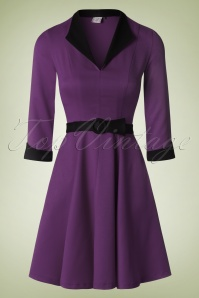 50s American Dreamer Collar Dress in Purple