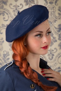 60s Carrie Wool Beret in Navy