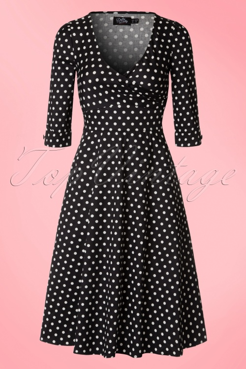 34697e6aa9d54 Dolly and Dotty Katherine Black and White Polkadot Swing Dress 102 14 20060  20161207 0005W