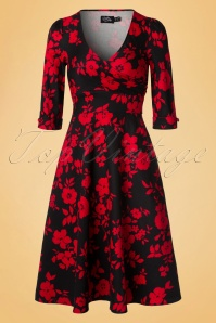Dolly and Dotty Katherine Floral Red and Black Swing Dress 102 14 20061 20161207 0003W