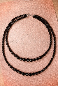 50s Two Tier Beaded Necklace in Black