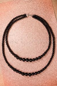 Two Tier Beaded Necklace Années 50 en Noir