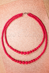 50s Two Tier Beaded Necklace in Red