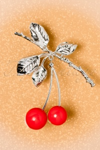 50s Cherry Branch Brooch in Silver