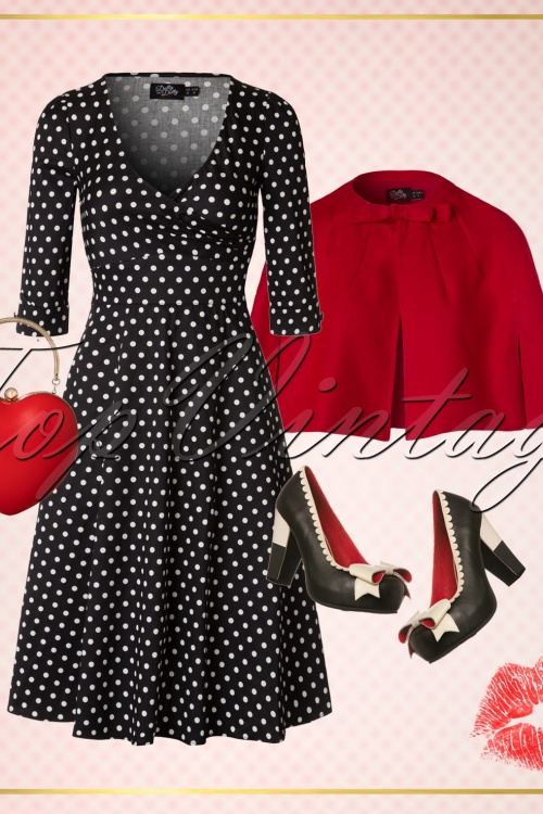 a21cc993d71dc Dolly and Dotty Katherine Black and White Polkadot Swing Dress 102 14 20060  20161207 0011WTopVintage