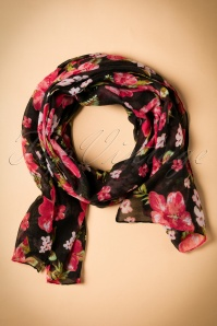 60s Surrounded By Flowers Scarf in Black