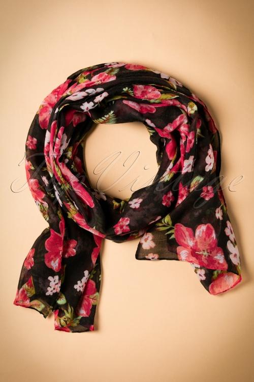 ZaZoo Black Floral Scarf 240 14 20632 12072016 003W