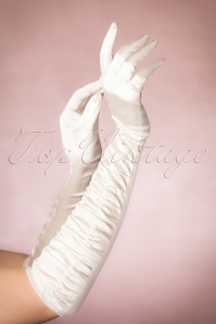 50s Satin Chic Gloves in Cream