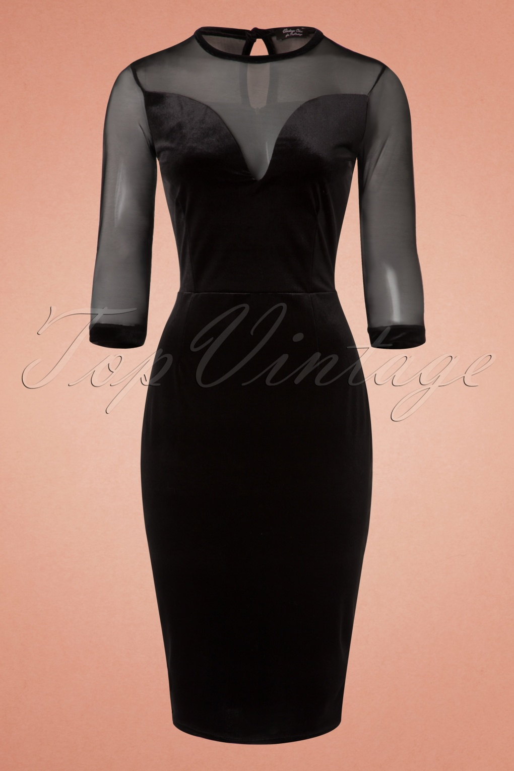 50s Verona Velvet Mesh Pencil Dress In Black