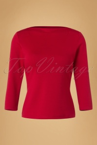 60s Bardot Top in Dark Red