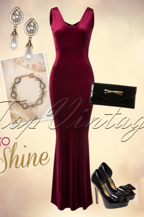 30s Macy Velvet Maxi Dress in Claret Red