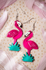 Flamboyant Flamingo Fair Earrings Années 60