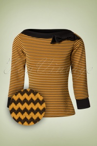 TopVintage Exclusive ~ 50s Bianca Zigzag Bow Boatneck Top in Black and Yellow