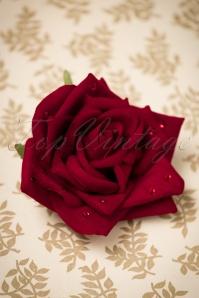 50s Bernie Glitter Rose Hair Clip in Dark Red