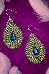 20s Edna Sparkling Earrings in Gold and Blue