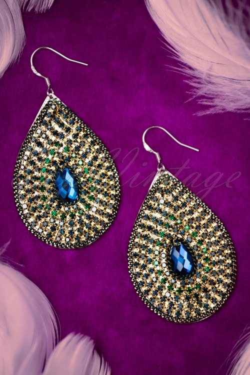 Glamfemme Gold and Blue Earrings 333 30 20881 12192016 005W