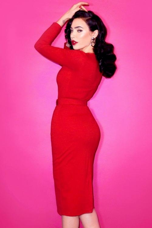 50s Vixen Wiggle Dress in Lipstick Red