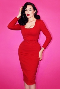TopVintage exclusive ~ 50s Vixen Wiggle Dress in Lipstick Red