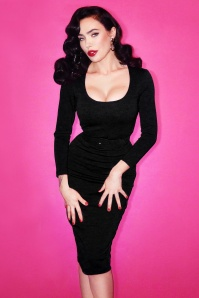 Vixen By Micheline Pitt Black PEncil Dress 20688
