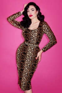 50s Vixen Wiggle Dress in Leopard