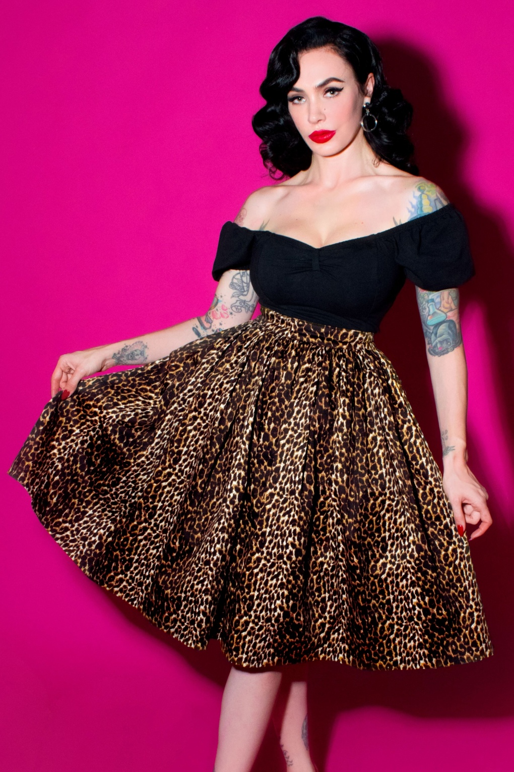 1950s Skirts for Sale: Poodle, Pencil, and Circle Skirts 50s Vixen Swing Skirt in Leopard £108.54 AT vintagedancer.com