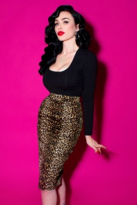 50s Vixen Pencil Skirt in Leopard
