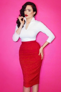 TopVintage exclusive ~ 50s Vixen Pencil Skirt in Lipstick Red