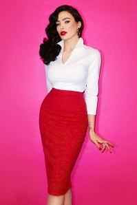Vixen by Micheline Pitt Red Pencil Skirt 120 20 20381 20161219 model02